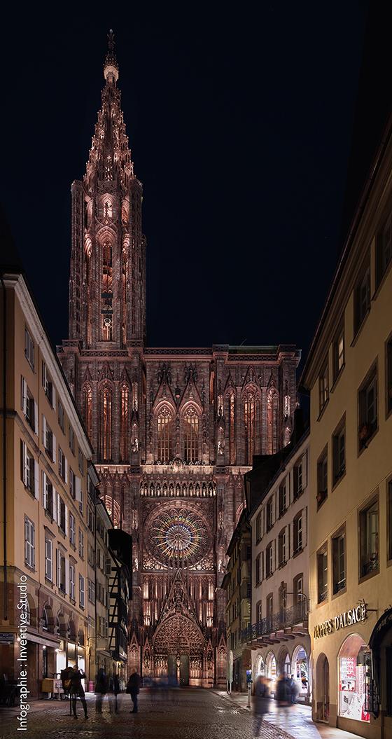 Photomontage du projet lauréat de mise en lumière, Cathédrale vue depuis la rue Mercière, Strasbourg, France - Illustration : Inventive studio
