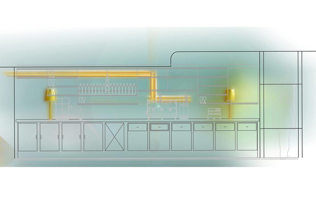 Caf K, Nantes, France - Coupe lumière longitudinale - Design et dessin : RICH