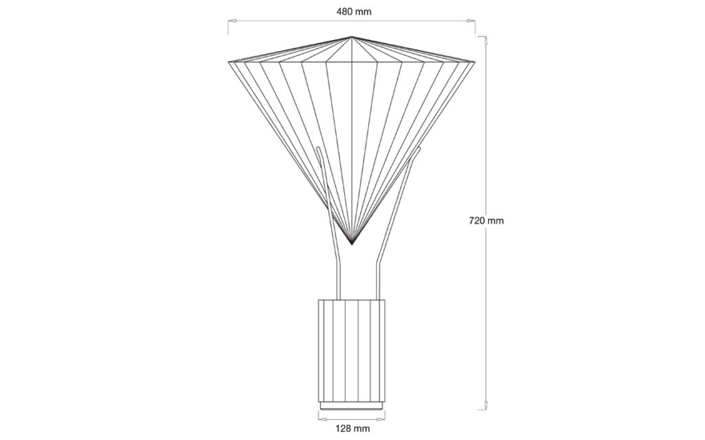 La gloriette, lampe à posée - Elévation - Design et dessin : RICH