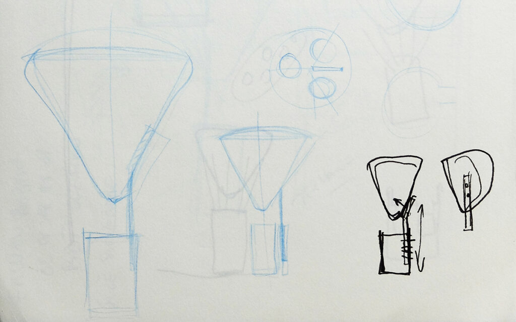 Esquisse de lampe à posée, La gloriette - Design et dessin : RICH