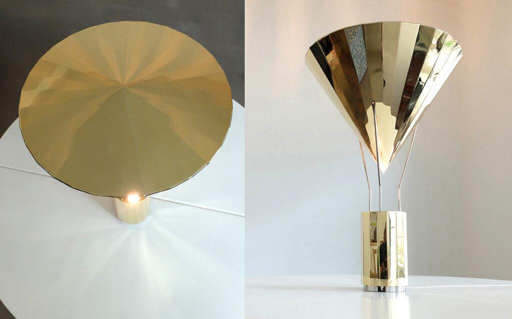 La gloriette, lampe à posée en laiton poli brillant - Vue de face et de dessus - Design et photo : RICH