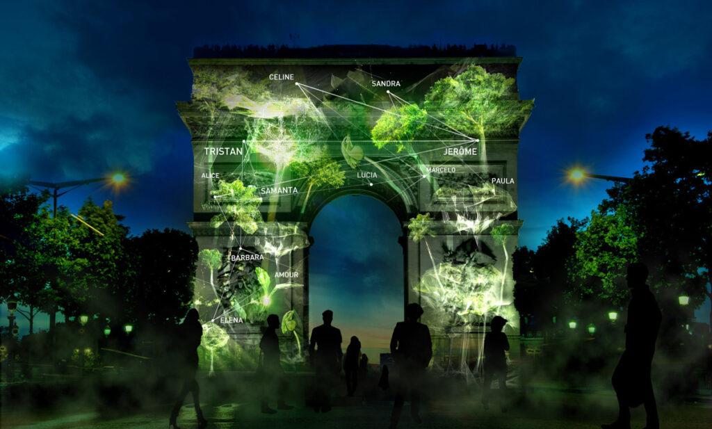 1 Heart 1 Tree - Phase 3 - Arc de Triomphe, Paris, France - Illustration : Naziha Mestaoui