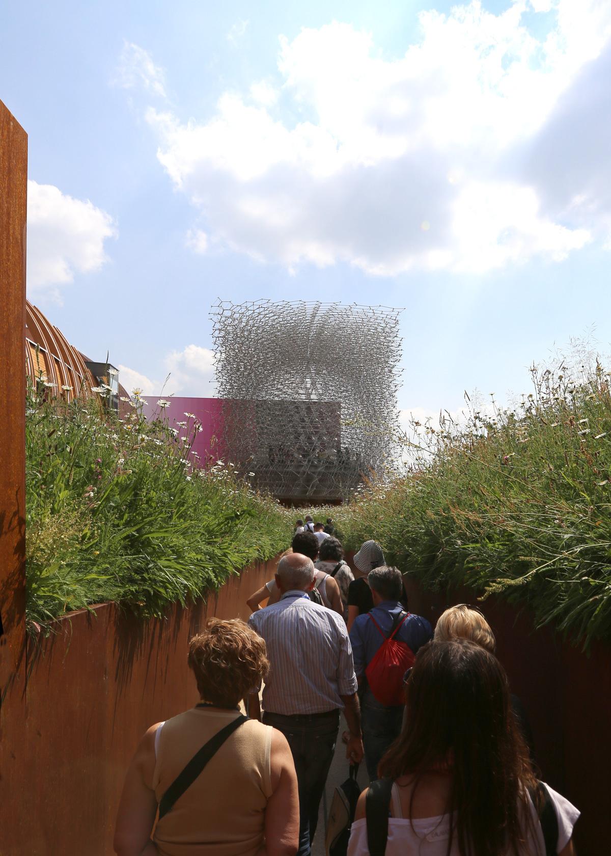 Expo 2015, UK Pavilion, Milan, Italy - L'oeil au raz de l'herbe Expo 2015, UK Pavillon, Milan, Italy - Architects BDP - Artist Wolfgang Buttress - Photo Jean-Yves Soetinck