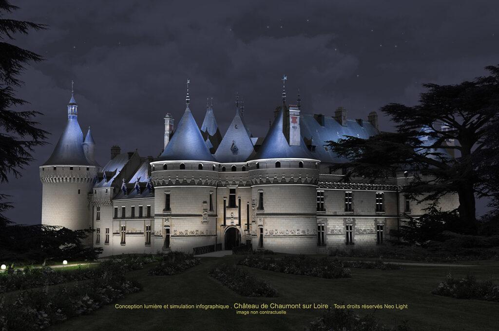 Simulation en infographie et conception lumière - Château de Chaumont-sur-Loire © Neolight