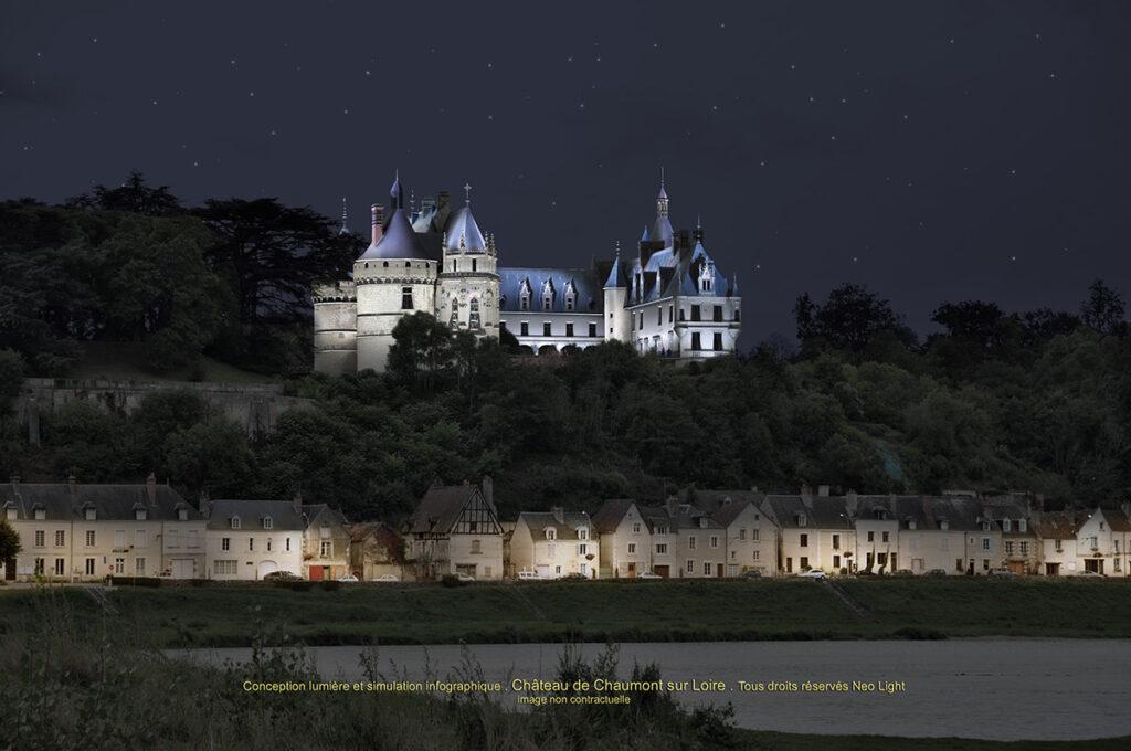 Simulation en infographie et conception lumière - Château de Chaumont-sur-Loire© Neolight