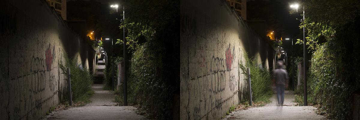 Chemin des Carriers, Lyon - Eclairage en mode de veille et plein feu - Photo Ville de Lyon