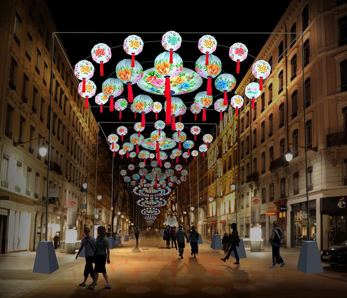 Les lanternes de Zigong - Rue de la République © Société Haitian Lantern - Simulation Fête des lumières 2015, Lyon - Simulation Fête des lumières 2015, Lyon