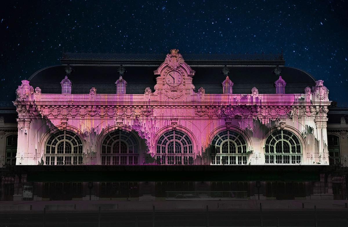 Numeria – Ancienne gare des Brotteaux © Théoriz - Simulation Fête des lumières 2015, Lyon