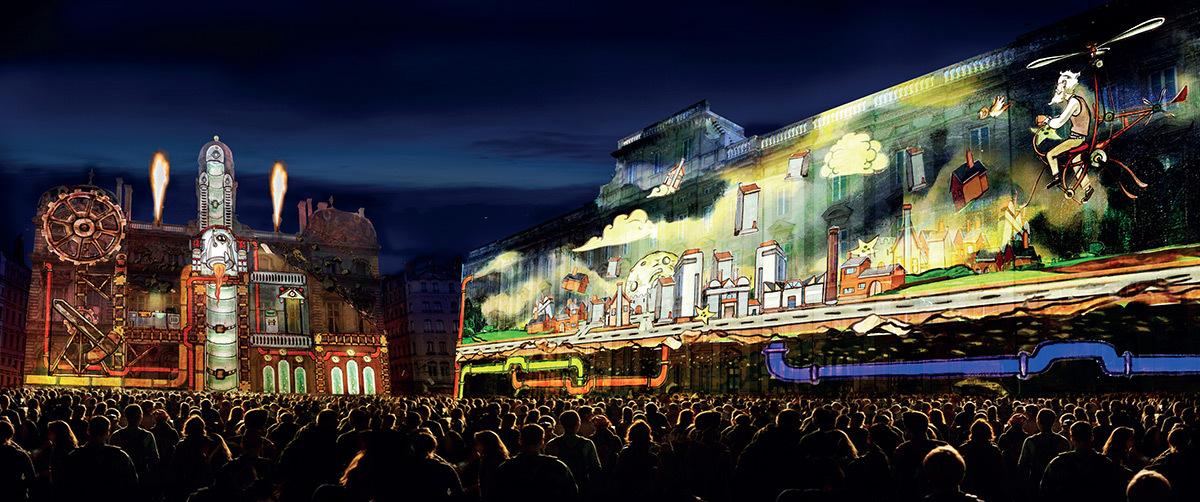 Place des Terreaux - Sans dessus, dessous © Joseph Couturier, Jacques Couturier Organisation - Simulation Fête des lumières 2015, Lyon