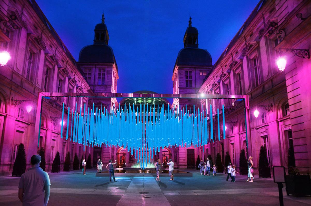 Platonium - Hôtel de Ville © Éric Michel, Lisa Akari-Ishii, I.C.O.N Lighting - Simulation de la Fête des lumières 2015 reportée, Lyon