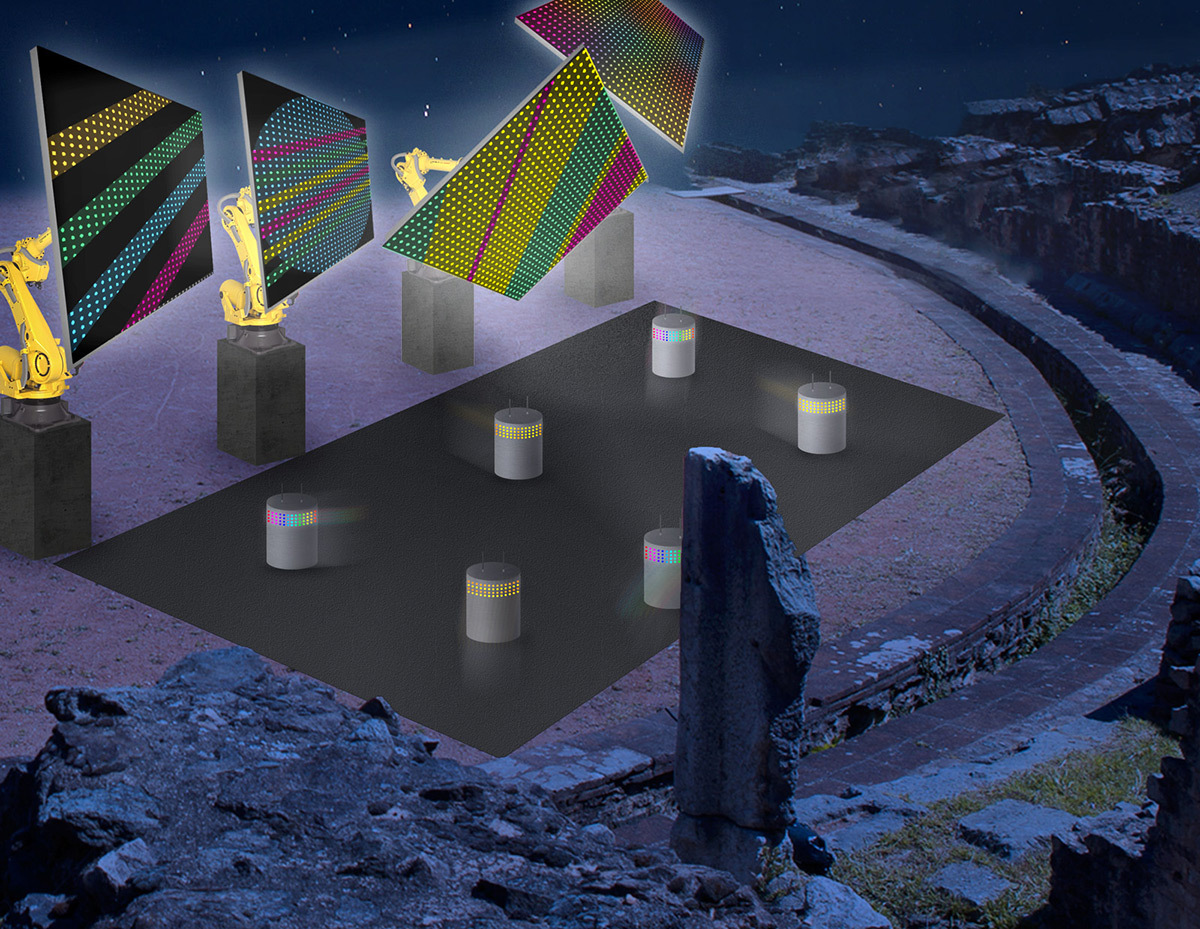 Roboticum - Amphithéâtre des 3 Gaules © Yves Moreaux - Simulation Fête des lumières 2015, Lyon