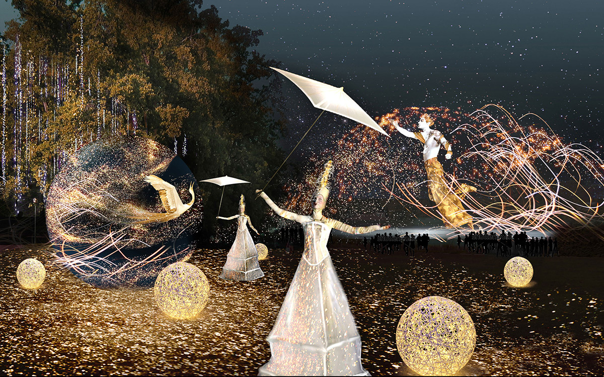 Songe d'une nuit dorée - Parc de la tête d'or © Marie-Jeanne Gauthé et Géraud Périole - Simulation Fête des lumières 2015, Lyon