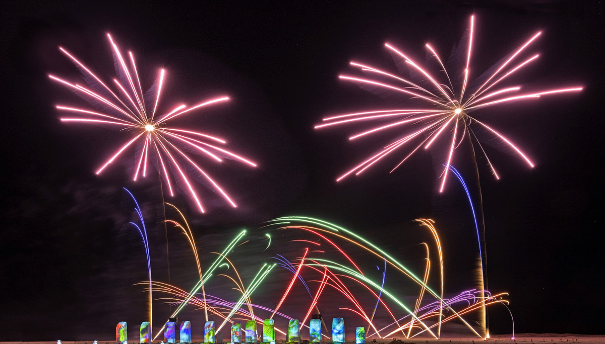 The Flower Power - Place Ambroise Courtois © Phoenix Fireworks / Martin Coffin & Groupe F - Simulation de la Fête des lumières 2015 reportée, Lyon