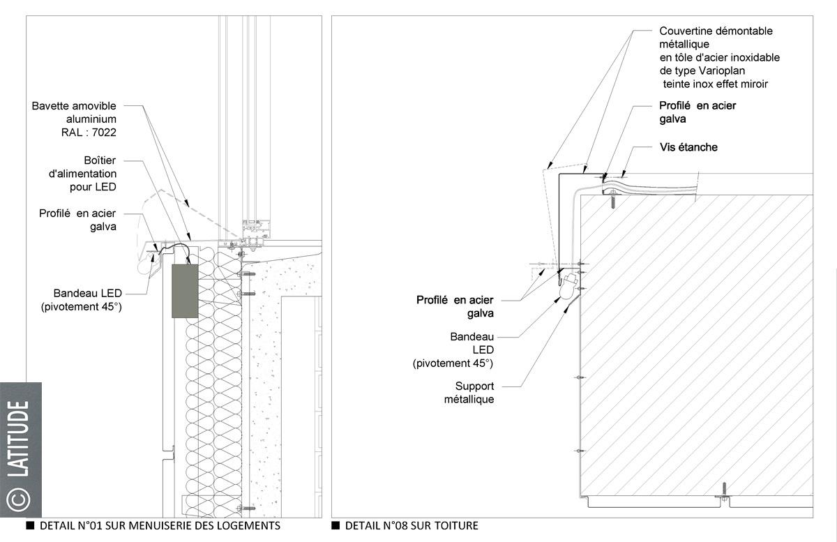 Détail du bandeau LED en coupe, phase Marché - Tour Sarah Bernhardt, Rennes, France - Architecte et dessin : Latitude