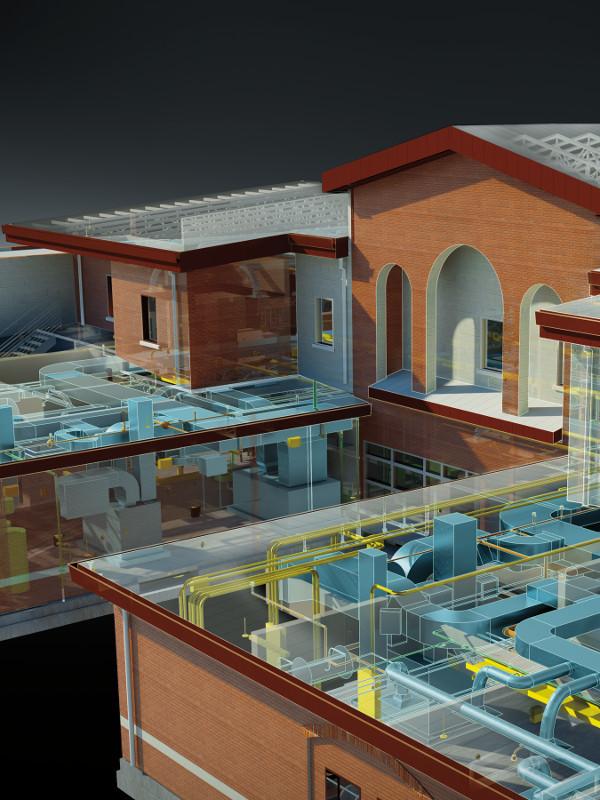 Rendu reseaux de fluides avec Revit MEP et 3ds Max, logiciels BIM de Autodesk © TME, Inc., et Corgan Associates