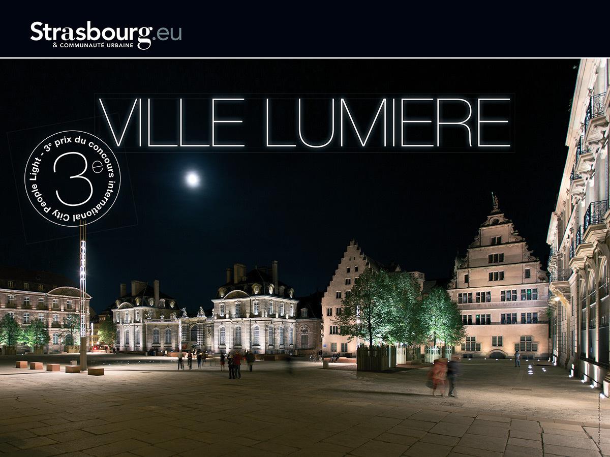 Campagne de communication suite au concours CPL 2014, Place du château, Strasbourg, France - Photo : L'Acte Lumière