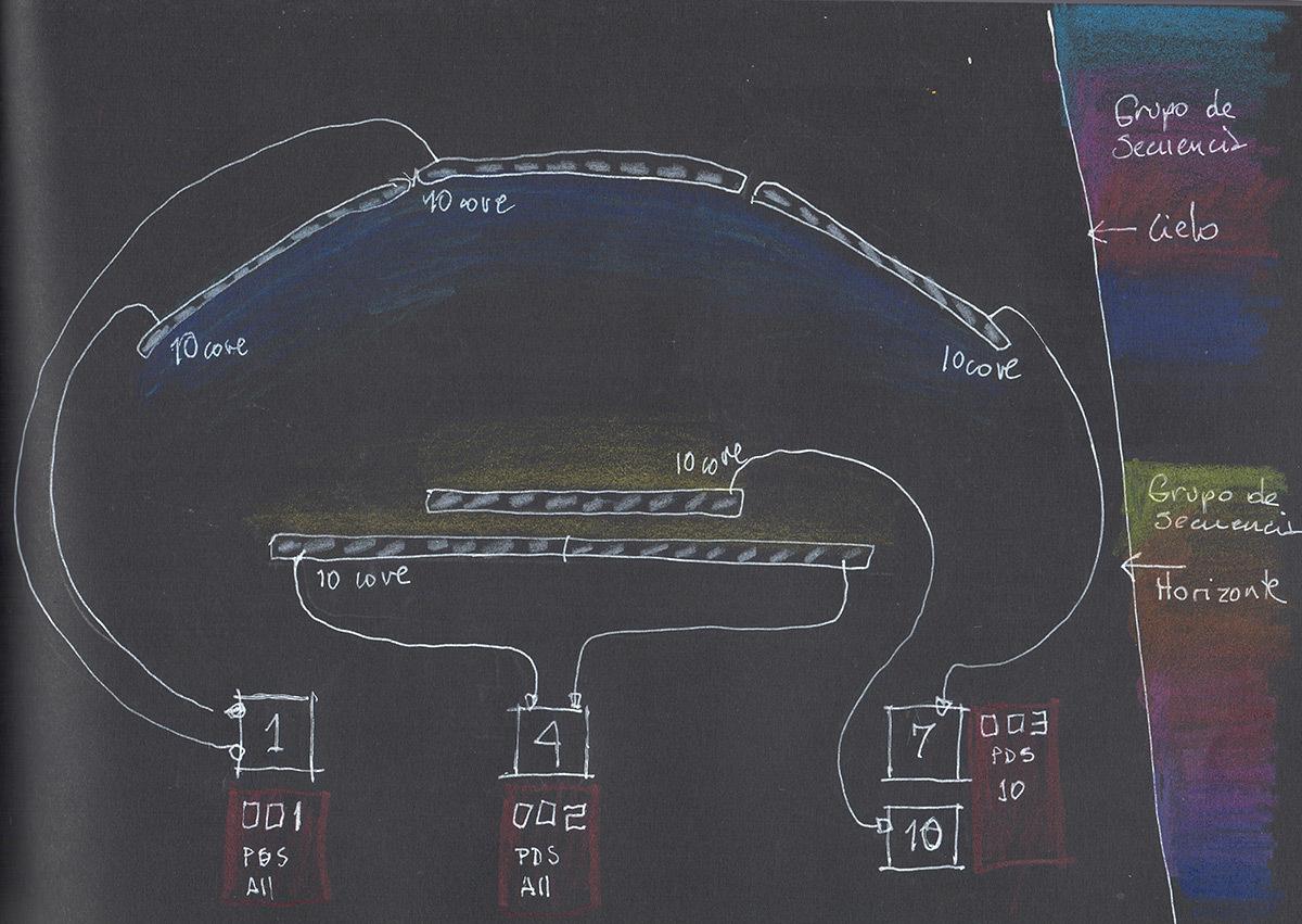 Atardeceres Perfectos - Sublimes couchers de soleils, Santiago, Chili - Artiste : Macarena Ruiz-Tagle - Conceptrice lumiére et dessin : Paulina Villalobos, Diav Lighting