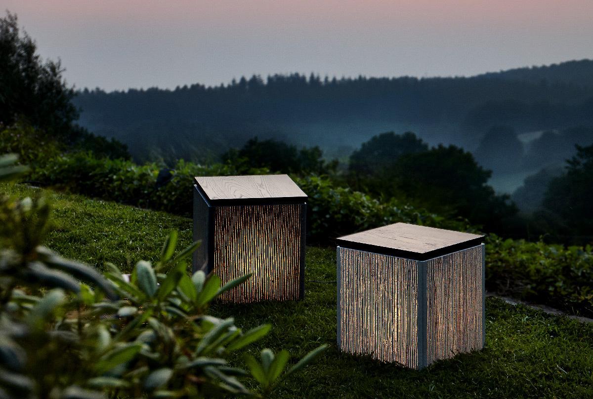 Lichtbeton, lampe cube, exterieur jour, lumiere en ...